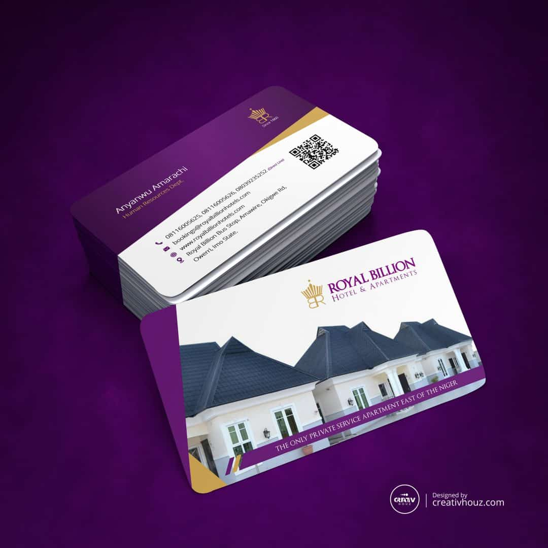 Business Cards for Royal Billion Hotels & Apartments